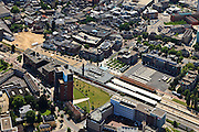 Nederland, Overijssel, Enschede, 30-06-2011;  Stationsplein, station.(dubbel eindstation) Railway station Enschede. (East-Netherlands).luchtfoto (toeslag), aerial photo (additional fee required).copyright foto/photo Siebe Swart