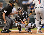 CHICAGO - MAY 31:  Seby Zavala #59 of the Chicago White Sox catches against the Cleveland Indians on May 31, 2019 at Guaranteed Rate Field in Chicago, Illinois.  (Photo by Ron Vesely)  Subject:  Seby Zavala