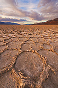Salt Formations on Playa at Sunset,Death Valley National Park, California