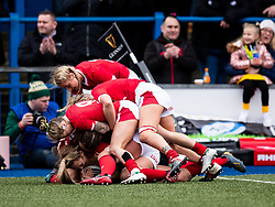 Hannah Jones of Wales celebrates scoring her sides first try<br /> <br /> Photographer Simon King/Replay Images<br /> <br /> Six Nations Round 1 - Wales Women v Italy Women - Saturday 2nd February 2020 - Cardiff Arms Park - Cardiff<br /> <br /> World Copyright © Replay Images . All rights reserved. info@replayimages.co.uk - http://replayimages.co.uk