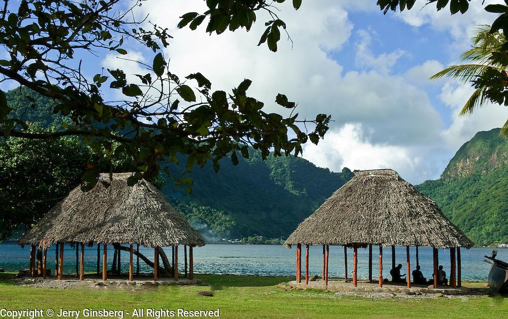 Traditional faleo'o on the bayshore, Pago Pago, Tutuila Island, American Samoa.