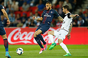 Paris Saint-Germain's French defender Layvin Kurzawa vies during the French Championship Ligue 1 football match between Paris Saint-Germain and EA Guingamp on April 9, 2017 at Parc des Princes stadium in Paris, France - Photo Benjamin Cremel / ProSportsImages / DPPI