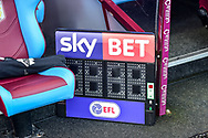 The electronic subs board with Skybet and EFL logo's during the EFL Sky Bet Championship match between Aston Villa and Birmingham City at Villa Park, Birmingham, England on 11 February 2018. Picture by Dennis Goodwin.