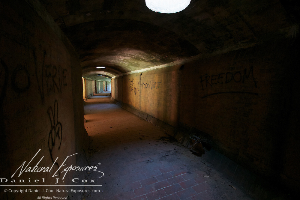 Unfinished, underground hallways are part of what are being called Modern Day Ruins of the Cuba Art School, Havana, Cuba