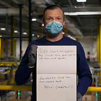 From Eccles, Manchester, worked at Amazon since sept 2018. Holding paper showing two impacts of  this COVID lockdown.