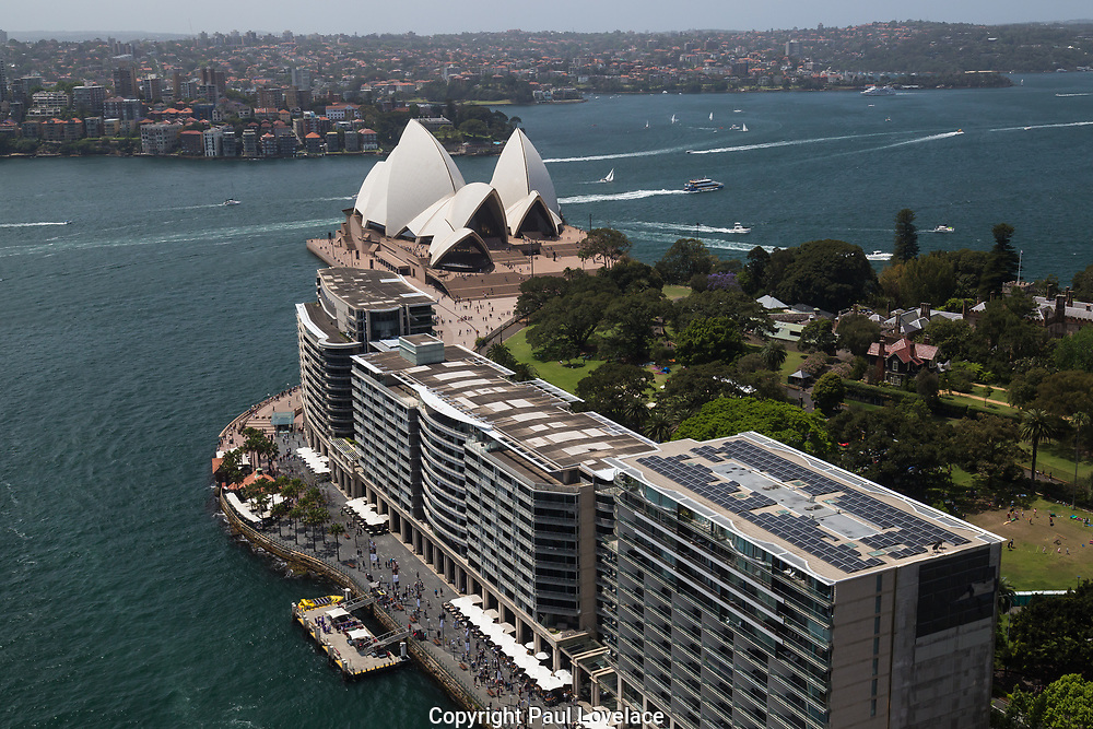 Open Sydney presented by Sydney Living Museuems. This event every year allows Sydneysiders to visit 40 of the city's most significant buildings and spaces across the CBD. Bennelong Apartments known as the Toaster Building viewed from the rooftop of the AMP Building, Sydney.