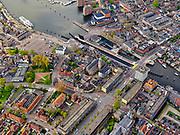 Nederland, Noord-Holland, Zaandam, 07-05-2021; centrum van Zaandam, Zaan met Wilhelmina en Hondsbossche Sluis in de Zaan. Oostzijderkerk.<br /> Center of Zaandam, river Zaan with Wilhelmina and Hondsbossche Sluis in the Zaan.<br /> <br /> luchtfoto (toeslag op standaard tarieven);<br /> aerial photo (additional fee required)<br /> copyright © 2021 foto/photo Siebe Swart.