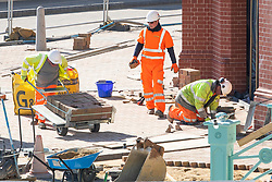 © Licensed to London News Pictures. 24/03/2020. Brighton, UK. Builders are part of the group of professions that is on the list of key workers as the UK goes in to lock down to prevent the spread of the Coronavirus. Photo credit: Hugo Michiels/LNP