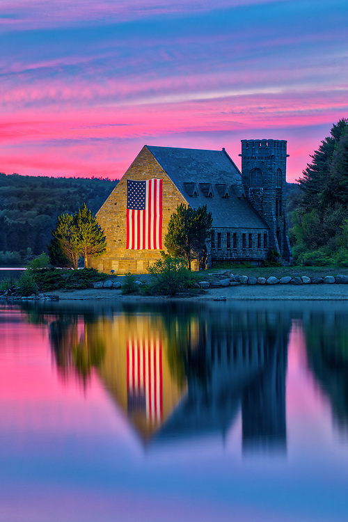 Abandoned Old Stone Church in West Boylston of Central Massachusetts on a beautiful sunset evening. New England colors photography of the historic landmark with church and sky colors reflecting in the Wachusetts Reservoir. <br /> <br /> Massachusetts West Boylston Old Stone Church photography pictures are available as museum quality photo, canvas, acrylic, wood or metal prints. Wall art prints may be framed and matted to the individual liking and interior design decoration needs:<br /> <br /> https://juergen-roth.pixels.com/featured/wachusett-reservoir-old-stone-church-juergen-roth.html<br /> <br /> Good light and happy photo making!<br /> <br /> My best,<br /> <br /> Juergen