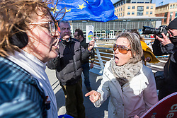 © Licensed to London News Pictures. 15/03/2019. Newcastle UK. Temperatures flare between remainers & leavers as over 20 fishing vessels from the Fishermen's organisation Fishing for Leave are heading up the river Tyne in Newcastle today in protest at the Prime Ministers withdrawal agreement & the possible halting of Brexit.  Photo credit: Andrew McCaren/LNP
