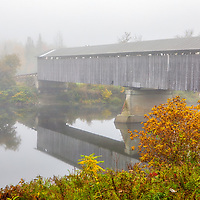 New England Covered Bridge photography of the historic Mount Orne Covered Bridge spanning across the Connecticut River between the towns of Lancaster, New Hampshire, and Lunenburg, Vermont. New England fall foliage and fog adding to the early morning atmosphere.<br /> <br /> Mount Orne Covered Bridge fall foliage photography images are available as museum quality photo, canvas, acrylic, wood or metal prints. Wall art prints may be framed and matted to the individual liking and New England interior design projects decoration needs.<br /> <br /> Good light and happy photo making!<br /> <br /> My best,<br /> <br /> Juergen