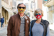 couple with funny mask during Covid 19 crisis and lockdown France Limoux April 2020