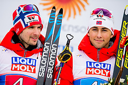 February 24, 2019 - Seefeld In Tirol, AUSTRIA - 190224 Jan Schmid and Jarl Magnus Riiber of Norway at the flower ceremony after the men's nordic combined team sprint during the FIS Nordic World Ski Championships on February 24, 2019 in Seefeld in Tirol..Photo: Vegard Wivestad GrÂ¿tt / BILDBYRN / kod VG / 170297 (Credit Image: © Vegard Wivestad Gr¯Tt/Bildbyran via ZUMA Press)