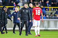 Manchester United Head Coach Ole Gunnar Solskjær at full time gestures to Manchester United midfielder Bruno Fernandes (18) during the Europa League match between Club Brugge and Manchester United at Jan Breydel Stadion, Brugge, Belguim on 20 February 2020.