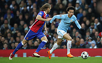 Football - 2017 / 2018 UEFA Champions League - Round of Sixteen, Second Leg: Manchester City (4) vs. FC Basel (0)<br /> <br /> Leroy Sane of Manchester City and Michael Lang of FC Basel at The Etihad.<br /> <br /> COLORSPORT