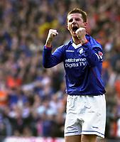 Photo: Greig Cowie<br />CIS Scottish Cup Final. Celtic v Rangers. Hampden Park Glasgow. 16/03/2003<br />Barry Ferguson celebrates after John Hartson misses the penatly
