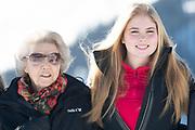 Fotosessie met de koninklijke familie in Lech /// Photoshoot with the Dutch royal family in Lech .<br /> <br /> Op de foto/ On the photo: Prinses Amalia en prinses Beatrix //  Princess Amalia and princess Beatrix