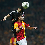 Galatasaray's Engin Baytar (R) Action picture during their Turkish superleague soccer derby match Galatasaray between Besiktas at the TT Arena at Seyrantepe in Istanbul Turkey on Sunday, 26 February 2012. Photo by TURKPIX