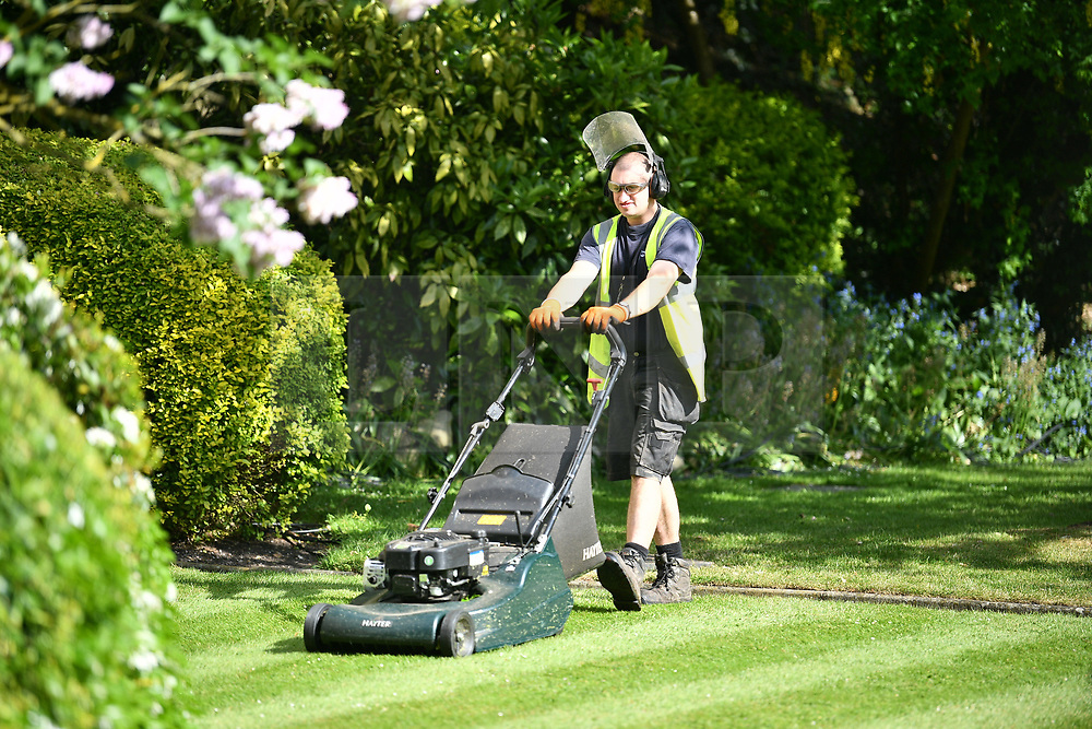 © Licensed to London News Pictures. 18/05/2018. London, UK. The grounds of Windsor Castle being prepared ahead of the wedding. Prince Harry and Meghan Markle are to be married tomorrow (Saturday) at St George's Chapel in Windsor. Photo credit: Ben Cawthra/LNP