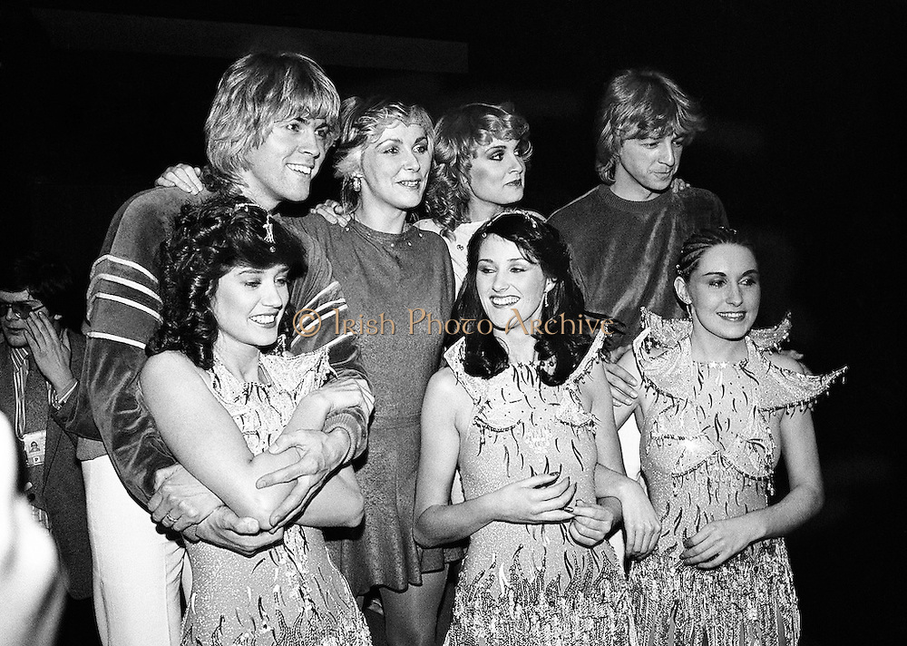 Eurovision Song Contest winners Buck's Fizz are congratulated by Irish entrants Sheba.<br />