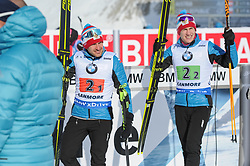 February 8, 2019 - Calgary, Alberta, Canada - Garanichev Evgeniy (RUS) on the left, and Latypov Eduard (rus) on the right are moving towards a podium after they won a bronze medal in Men's Relay of 7 BMW IBU World Cup Biathlon 2018-2019. Canmore, Canada, 08.02.2019 (Credit Image: © Russian Look via ZUMA Wire)