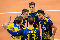 Sweden celebrate during the CEV Eurovolley 2021 Qualifiers between Sweden and Netherlands at Topsporthall Omnisport on May 14, 2021 in Apeldoorn, Netherlands