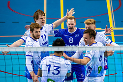 Bennie Tuinstra of Lycurgus, Steven Ottevanger of Lycurgus, Thomas Douglas Powell of Lycurgus, Geoffrey van Gent of Lycurgus, Luke Herr of Lycurgus celebrate during the league match between Draisma Dynamo vs. Amysoft Lycurgus on March 13, 2021 in Apeldoorn.
