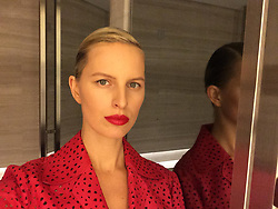 "Karolina Kurkova releases a photo on Twitter with the following caption: """"Don't be affraid to go minimal on the eyes with natural skin and bold lips #kkbeauty #kkstyle 💪👊"""". Photo Credit: Twitter *** No USA Distribution *** For Editorial Use Only *** Not to be Published in Books or Photo Books ***  Please note: Fees charged by the agency are for the agency's services only, and do not, nor are they intended to, convey to the user any ownership of Copyright or License in the material. The agency does not claim any ownership including but not limited to Copyright or License in the attached material. By publishing this material you expressly agree to indemnify and to hold the agency and its directors, shareholders and employees harmless from any loss, claims, damages, demands, expenses (including legal fees), or any causes of action or allegation against the agency arising out of or connected in any way with publication of the material."
