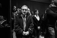"""BARI,  ITALY - 6 FEBRUARY 2013: Giorgia Meloni (36), founder and leader of the centre-right party """"Fratelli d'Italia"""" (Brothers of Italy) together with Guido Crosetto and Ignazio La Russa, rallies in Bari, Italy, during her campaign in Apulia on February 6 2013.<br /> <br /> A general election to determine the 630 members of the Chamber of Deputies and the 315 elective members of the Senate, the two houses of the Italian parliament, will take place on 24–25 February 2013. The main candidates running for Prime Minister are Pierluigi Bersani (leader of the centre-left coalition """"Italy. Common Good""""), former PM Mario Monti (leader of the centrist coalition """"With Monti for Italy"""") and former PM Silvio Berlusconi (leader of the centre-right coalition).<br /> <br /> ###<br /> <br /> BARI, ITALIA - 6 FEBBRAIO 2013: Giorgia Meloni (36 anni), fondatrice e leader di """"Fratelli d'Italia"""" insieme a Guido Crosetto e Ignazio La Russa,  Giorgia Meloni (36), fa un comizio Bari durante la sue campagna electoral in Puglia il 6 fennraio 2013.<br /> <br /> Le elezioni politiche italiane del 2013 per il rinnovo dei due rami del Parlamento italiano – la Camera dei deputati e il Senato della Repubblica – si terranno domenica 24 e lunedì 25 febbraio 2013 a seguito dello scioglimento anticipato delle Camere avvenuto il 22 dicembre 2012, quattro mesi prima della conclusione naturale della XVI Legislatura. I principali candidate per la Presidenza del Consiglio sono Pierluigi Bersani (leader della coalizione di centro-sinistra """"Italia. Bene Comune""""), il premier uscente Mario Monti (leader della coalizione di centro """"Con Monti per l'Italia"""") e l'ex-premier Silvio Berlusconi (leader della coalizione di centro-destra)."""
