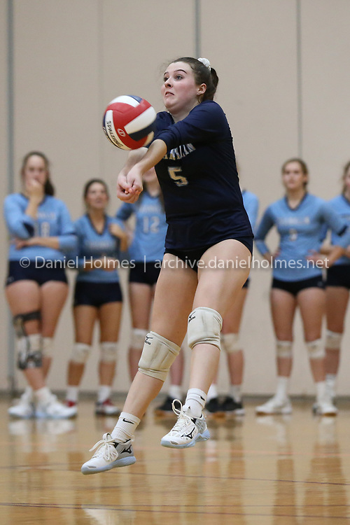 (11/4/19, NORTHBOROUGH, MA) Franklin's Jillian Benoit  bumps the ball during the quarterfinals of the Division 1 Central/West playoffs against Algonquin at Algonquin Regional High School in Northborough on Monday. [Daily News and Wicked Local Photo/Dan Holmes]