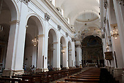 Interior of Spoleto Cathedral in Spoleto, Umbria, Italy. Cattedrale di Santa Maria Assunta, or Duomo di Spoleto is the cathedral of the Archdiocese of Spoleto-Norcia created in 1821. The church is essentially an example of Romanesque architecture.