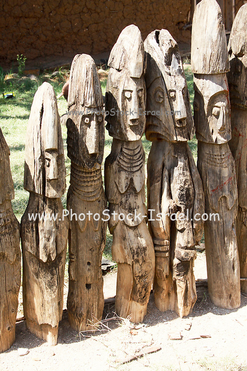 Africa, Ethiopia, Konso tribe, Carved wooden grave marker