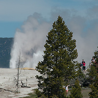 Tourists watch erupting geysers at Lower Geyser Basin in Wyoming's Yellowstone National Park.