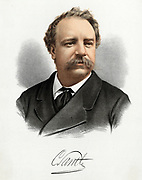 'Charles Santley (1834-1922) foremost English opera, oratorio and concert baritone who mae his stage debut in Italy in 1857 and his farewell at Covent Garden in 1911. Tinted lithograph c1880.'