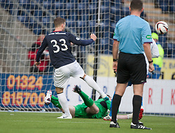 Falkirk's Rory Loy misses the penalty and the follow up is saved by Morton's keeper Derek Gaston.<br /> Falkirk 1 v 1 Morton, Scottish Championship game today at The Falkirk Stadium.<br /> © Michael Schofield.