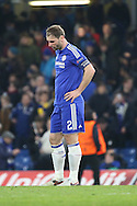Chelsea defender Branislav Ivanovic (2) all alone after loss during the Champions League match between Chelsea and Paris Saint-Germain at Stamford Bridge, London, England on 9 March 2016. Photo by Matthew Redman.