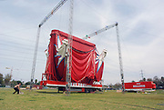 Bellucci Circus performed in Tel Aviv, Israel in April Erecting the circus tent