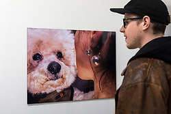 """© Licensed to London News Pictures. 28/03/2018. LONDON, UK.  Preview of """"The Series"""", an exhibition by Glaswegian street photographer Dougie Wallace at Bermondsey Project Space from 27 March to 14 April.  Works on display are from diverse subjects such as the mega-rich in Harrodsburg, Shoreditch, Blackpool as well as his latest project """"Well Heeled"""", a street photography book with dogs as the subject.  Photo credit: Stephen Chung/LNP"""