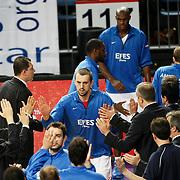 Efes Pilsen's Nikola VUJCIC (C) during their Turkish Basketball league match Efes Pilsen between Banvit at the Sinan Erdem Arena in Istanbul Turkey on Saturday 02 April 2011. Photo by TURKPIX