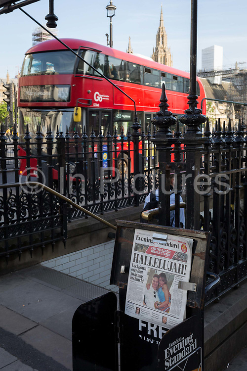 Opposite the Houses of Parliament in Westminster, Londons Evening Standard newspaper headlines with news about Covid lockdown rules on the day that UK Prime Minster, Boris Johnson announced in parliament a major easing of Coronavirus pandemic restrictions on July 4th next week, including the re-opening of pubs, restaurants, hotels and hairdressers in England, on 23rd June 2020, in London, England. The three month two metre social distance will be also reduced to one metre plus but in the last 24hrs, a further 171 have died from Covid, bringing the UK total to 42,927.