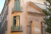 Part of an original Roman temple remains standing within a modern building in Place du Forum in Arles in Provence France