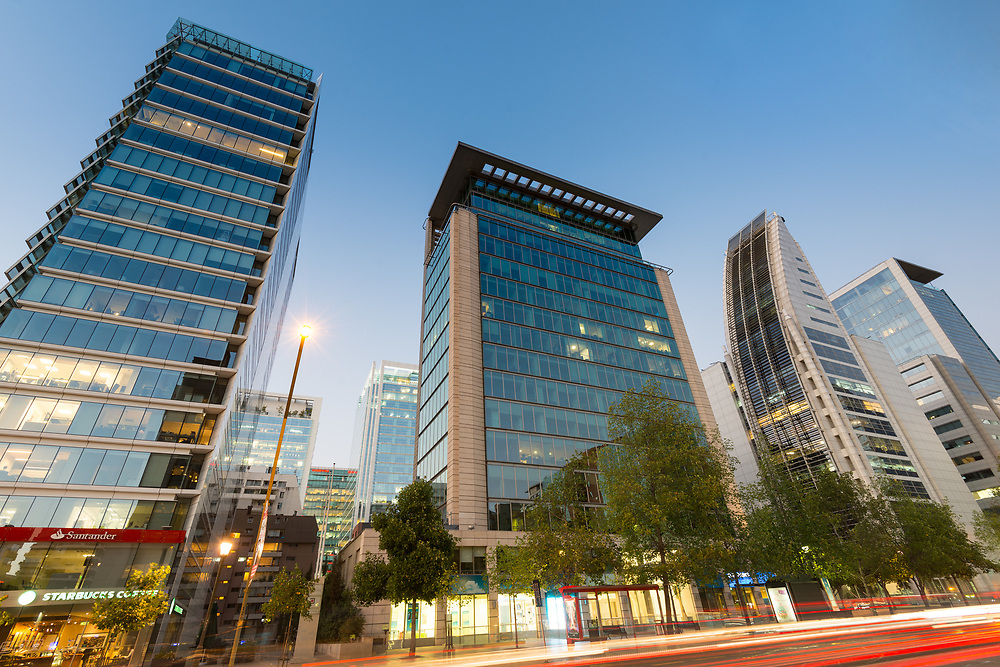 Santiago, Region Metropolitana, Chile - The Apoquindo Avenue one of the most important streets in the city for the location of high profile corporate and office buildings.
