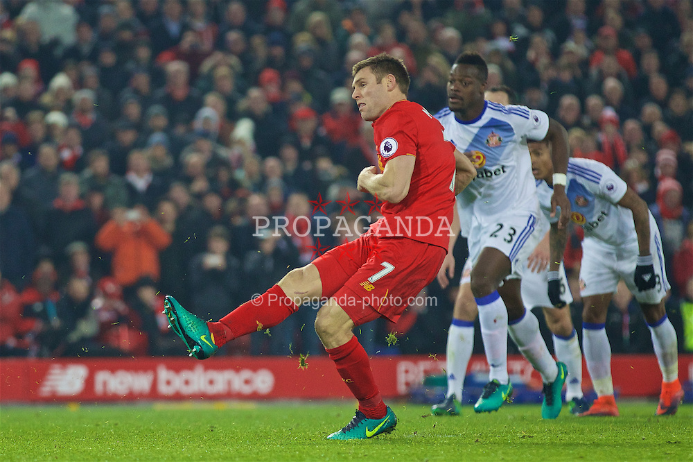 LIVERPOOL, ENGLAND - Saturday, November 26, 2016: Liverpool's James Milner scores the second goal against Sunderland from the penalty spot during the FA Premier League match at Anfield. (Pic by David Rawcliffe/Propaganda)