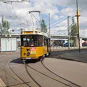 Historic sightseeing tram train on tourist route 10 around the city, Rotterdam, Netherlands