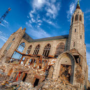 Demolition underway in December 2011 of Holy Name Church at 23rd and Benton Boulevard on the East Side of Kansas City, Missouri.