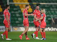 Rugby Union - 2019 / 2020 Gallagher Premiership - Northampton Saints v Sale Sharks - Franklin Gardens<br /> <br /> Sale Sharks' Faf De Klerk (right) with James Phillips and Robert du Preez after their 34-14 victory.<br /> <br /> COLORSPORT/ASHLEY WESTERN