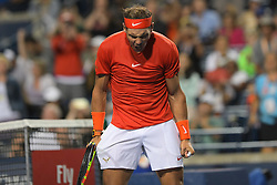 August 12, 2018 - Toronto, ON, U.S. - TORONTO, ON - AUGUST 11: Rafael Nadal (ESP) celebrates after winning his Semi finals match of the Rogers Cup tennis tournament on August 11, 2018, at Aviva Centre in Toronto, ON, Canada. (Photograph by Julian Avram/Icon Sportswire) (Credit Image: © Julian Avram/Icon SMI via ZUMA Press)