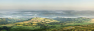 Panoramic view of the Wye Valley from Hay Bluff near Hay on Wye, Herefordshire, Uk