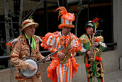 Mummers entertainers, mod rel..Philadelphia, Pennsylvania, PA USA.  Photo copyright Lee Foster, 510-549-2202, lee@fostertravel.com, www.fostertravel.com. Photo 299-30859
