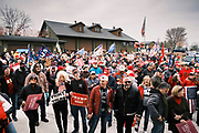 """06 DECEMBER 2020 - DES MOINES, IOWA: About 1,000 supporters of outgoing US President Donald Trump rallied in Des Moines Sunday to show their support for the President and to protest the outcome of the US Presidential election. They started with a rally in the suburbs of Des Moines then drove in a motorcade through the city, ending at the State Capitol. They repeated many of Trump's discredited claims that the election was marked by fraud and that Trump actually won. The protest was a part of the national """"March for Trump"""" effort, culminating in a march in Washington DC on December 13. Joe Biden won the election, with 306 electoral votes to Trump's 232.       PHOTO BY JACK KURTZ"""